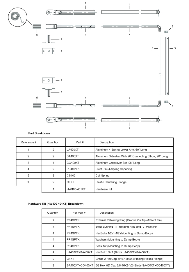 Aluminum tarp arm system - 400XT - diagram