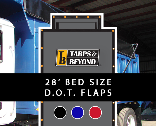 Asphalt tarp 28' bed with D.O.T. flaps.