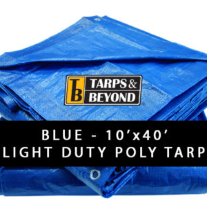 Blue 10' x 40' Poly Tarp in Florida and Miami.