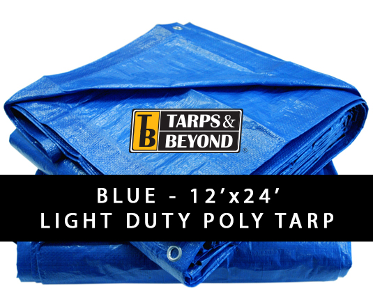 Blue 12' x 24' Poly Tarp in Florida and Miami.