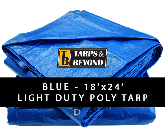 Blue 18' x 24' Poly Tarp in Florida and Miami.
