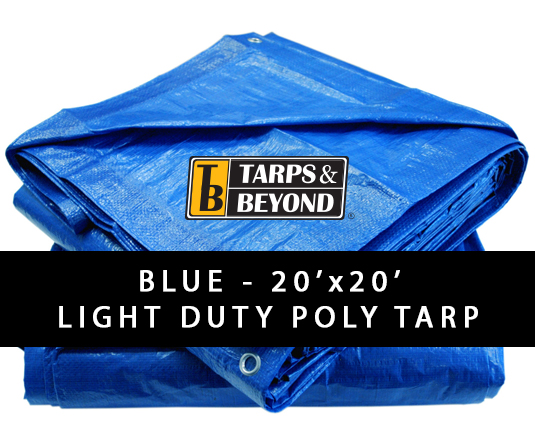 Blue 20' x 20' Poly Tarp in Florida and Miami.