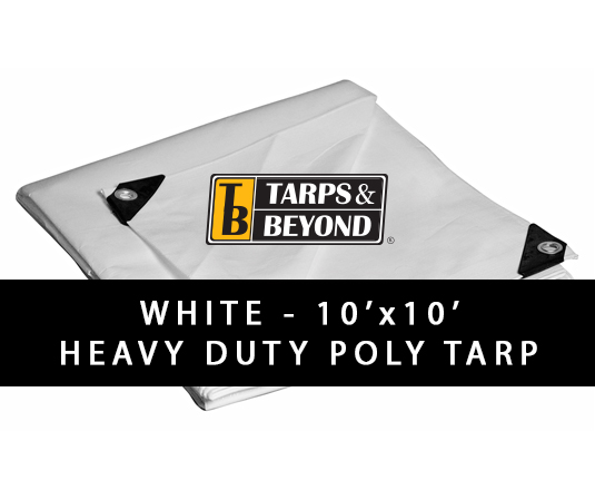 White 10' x 10' Heavy-Duty Poly Tarp in Florida and Miami.