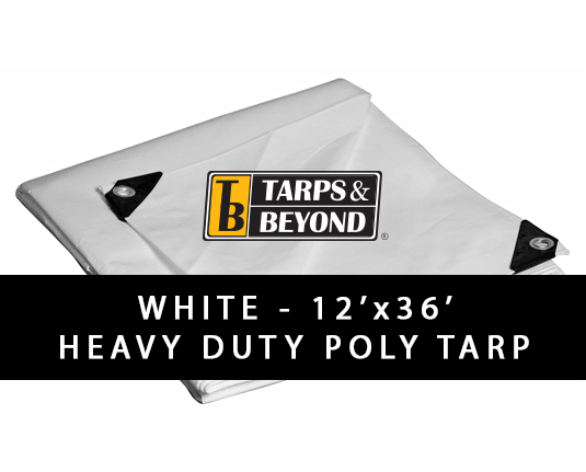White 12' x 36' Heavy-Duty Poly Tarp in Florida and Miami.