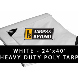 White 24' x 40' Heavy-Duty Poly Tarp in Florida and Miami.